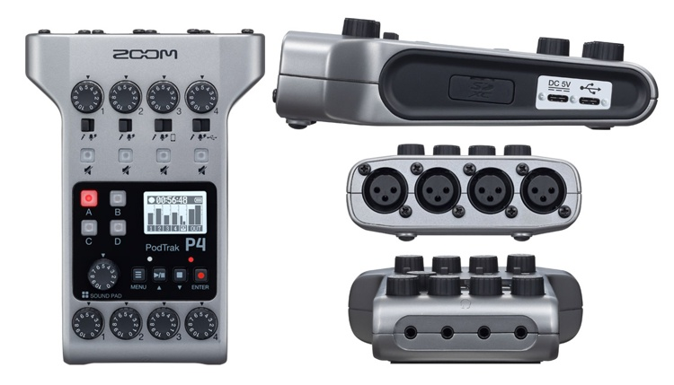 Zoom PodTrak P4 Podcasting Audio Recorder